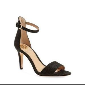 Vince Camuto Black Sparkly Ankle Strap Heels